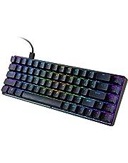 RuleaxAsi MK14 RGB Backlight Keyboard 68 Keys Metal Panel N-key Rollover Gaming Keyboard Blue Switch Floating Key-caps 18 Light Effects Black