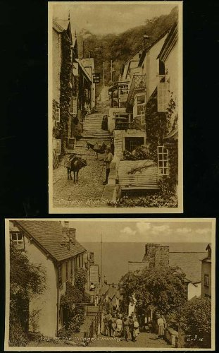 Clovelly North Devon (Real Photo Postcards group of 2)
