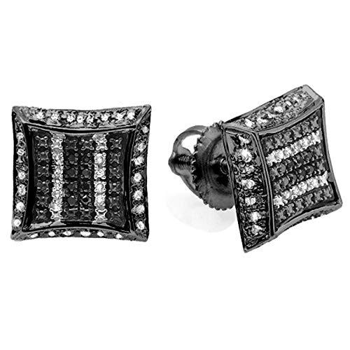Dazzlingrock Collection 0.10 Carat (ctw) Black Rhodium Plated White & Black Diamond Kite Shape Stud Earrings, Sterling Silver