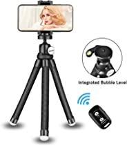 UBeesize Phone Tripod Stand, Portable Cellphone Camera Tripod with Bluetooth Remote, Compatible with iPhone and Android Phon