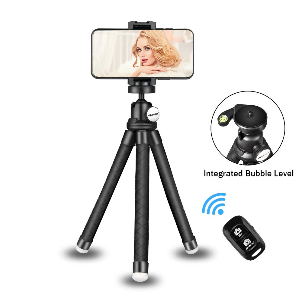 Phone Tripod Stand, Portable Cellphone Camera Tripod with Bluetooth Remote, Compatible with iPhone and Android Phone, Great for Selfies/Vlogging/Streaming/Photography/Recording by UBeesize