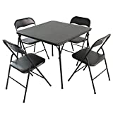 Edeco 5-piece Folding Table and Chair Set, Black