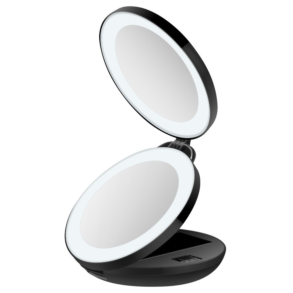 Travel Portable make-up mirror,16 LED Lighted Mirror,Magnification 1x and 10x, Illuminated Black Compact Mirror.Unodeco U033