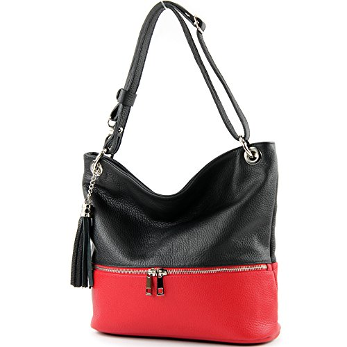 modamoda de -. ital sac en cuir dames sac d'épaule épaule T143 sac en cuir Schwarz/Rot