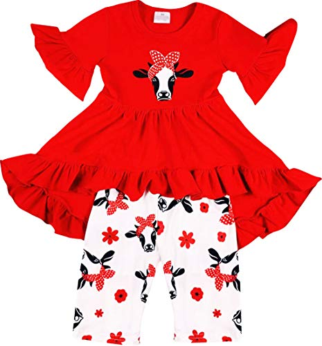 Boutique Baby Girls Spring Summer Cute Cow Head Ruffles Hi-Low Tunic Capri Outfit 18-24M/XS