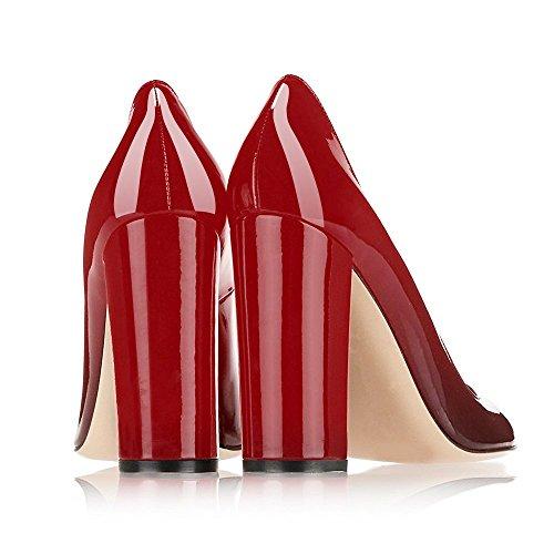 EKS - Zapatos de vestir para mujer rojo y negro