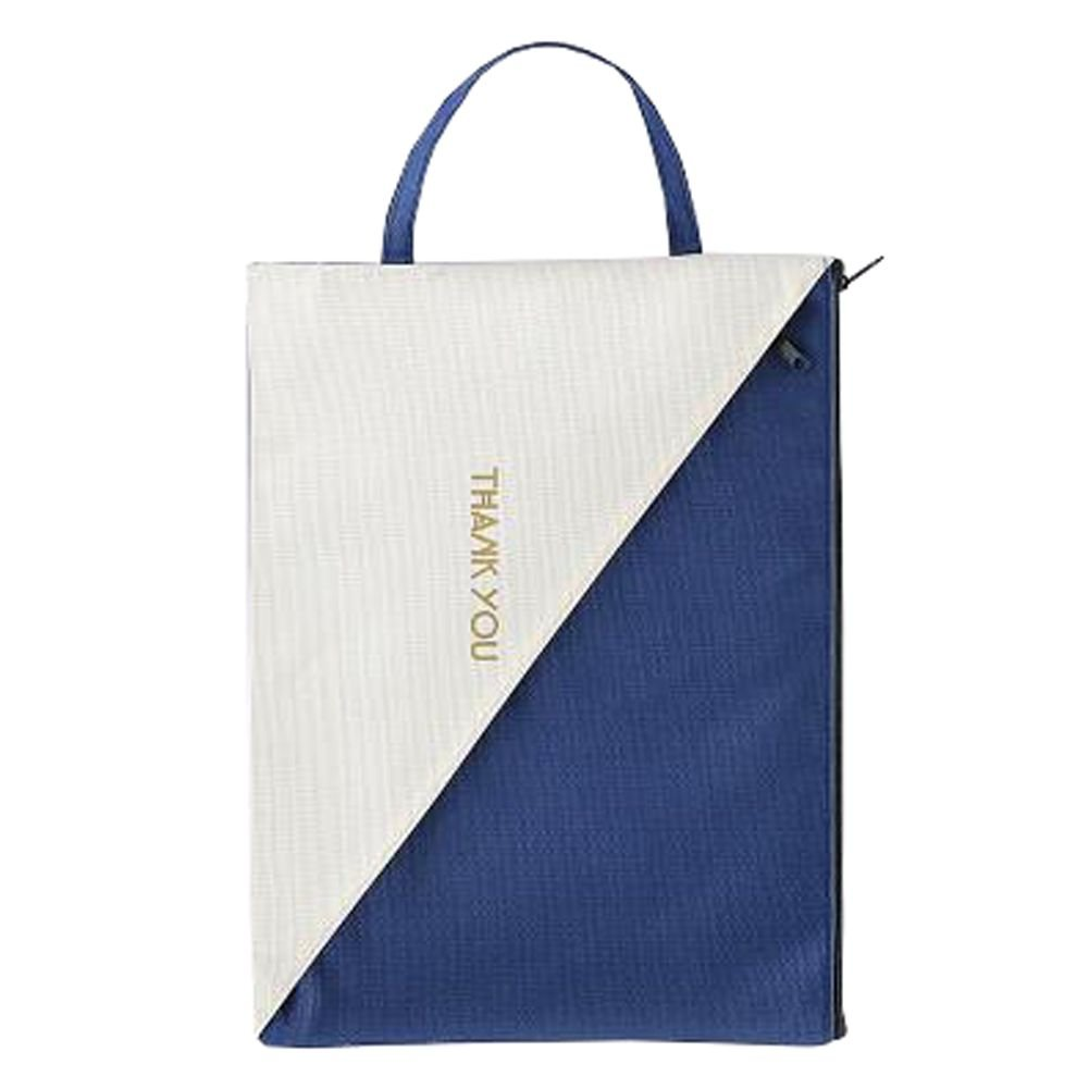 Cute File Bag Stationery Bag Pouch File Envelope for Office/School Supplies, Dark Blue