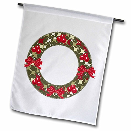 3dRose Anne Marie Baugh - Christmas - Red and Green Christmas Holly Berry Wreath and Bows Illustration - 12 x 18 inch Garden Flag (fl_266708_1) - Christmas Wreath Holly Bow