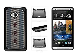 Metal Chicago Flag Plastic Phone Case Back Cover HTC One M7
