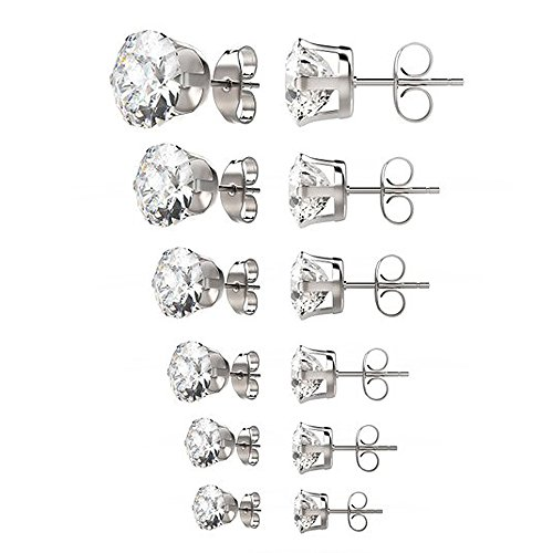 Gifts for her / women 6 pairs 3-8mm mixed sizes womens Surgical 316L stainless steel Cubic Zirconia stud earrings