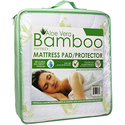 Homelux Cool Comfortable Hypoallergenic Aloe Vera Bamboo Essence Fitted Mattress Pad Protector with Deep Pockets, Queen Size