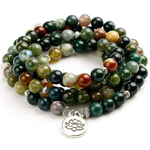 (Zozu 108 Tibetan Buddhist Mala Natural India Onyx Stone Bead Dual-use Women Necklace Men Bracelet Yoga Prayer for Meditation Gift)