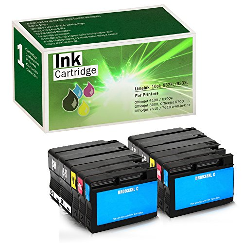 Limeink Compatible Ink Cartridge Replacements 932XL & 933XL High Yield (4 Black / 2 Cyan / 2 Yellow / 2 Magenta, 10 Pack)