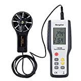 Mengshen Digital LCD Wind Speed Meter Gauge Air Flow Velocity Measurement Thermometer with Backlight Temperature Anemometer for Air Velocity,Air Flow Sailing Surfing Fishing MS-M9819