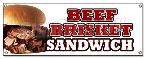 Beef Brisket Sandwich Banner Sign Slow Cooked Bar B Que Texas Smoked