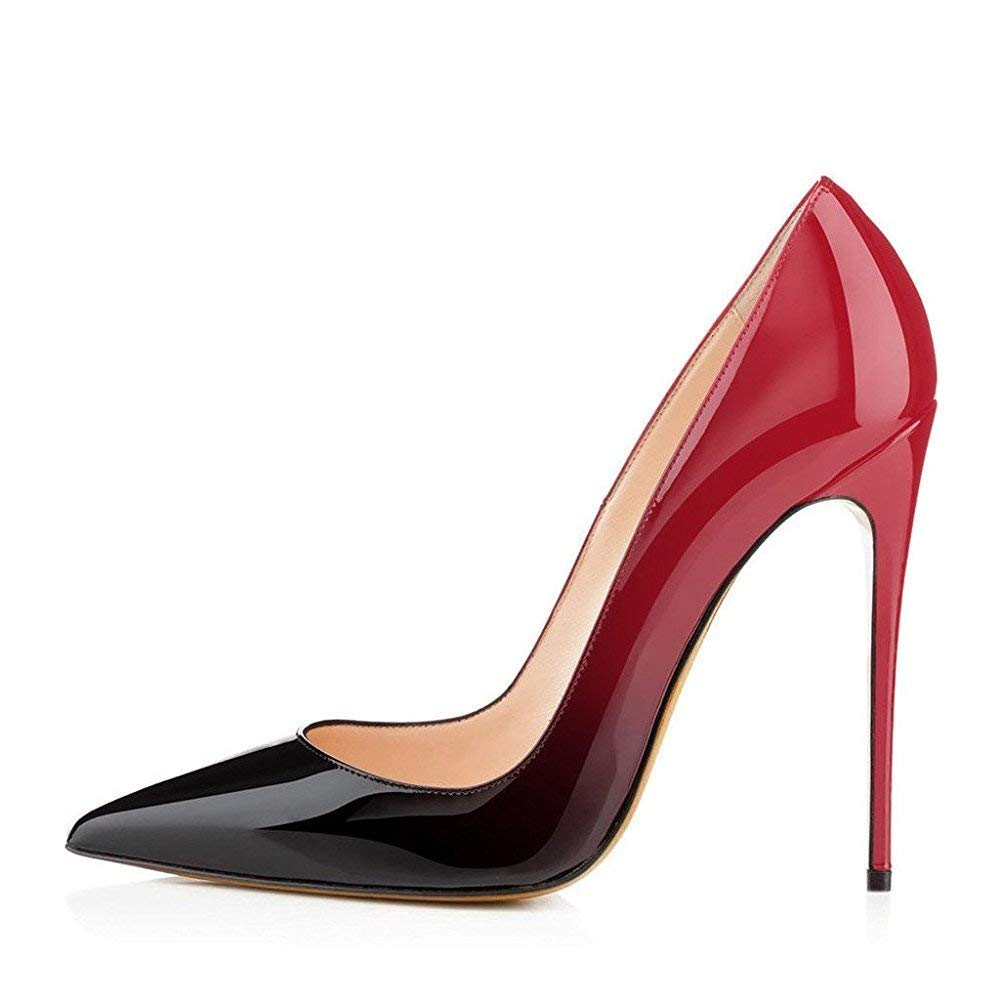 Red to Black CAITLIN-PAN Womens 12cm High Heels Pointed Toe Slip On Stilettos Leather Party Dress Pumps Size 5-15 US