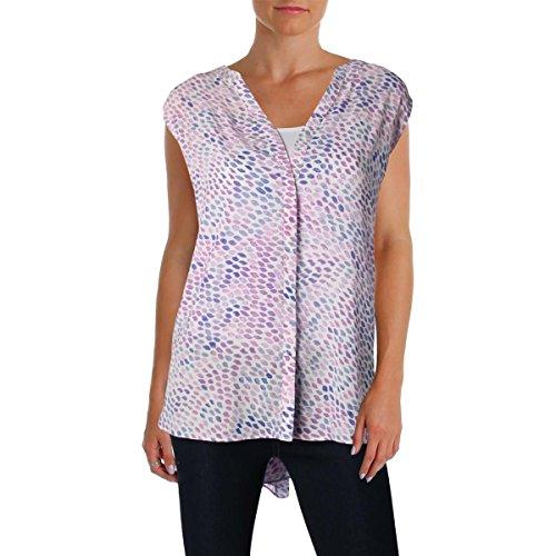 Dress Pintuck Dot (NYDJ Women's Sleeveless Pintuck Blouse, Montmarte Dots Pale Orchid, X-Large)