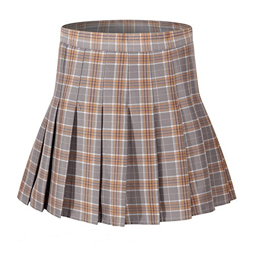 Women's High Waist Pleated plaid short Mini Slim sports Skorts ( M, Grey brown ) (Brown Pleated Skirt)