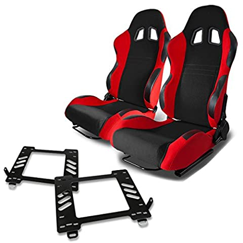 Pair of RST7BKRD Racing Seats+Mounting Bracket for Mazda Miata MX-5 NA - 89 Passenger Side Bracket