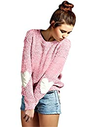 Futurino Women's Heart Patchwork Elbow Crewneck Marled Knitted Pullover Sweater