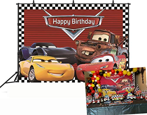 Disney Cars Party Supplies (GYA Cartoon Racing Mobilization Birthday Themed Backdrops Racing Flag Black White Grid Red Photo Backgrounds for Photography Birthday Party Banner Photo Booth Props)
