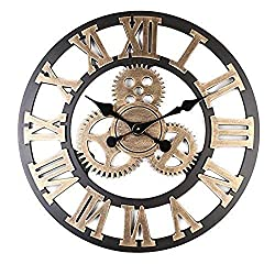 Mancru Vintage Not Cover Silence Gear Industrial Wall Clock Shabby Wooden Large Round Non-Ticking Quiet Quartz Wall Clock Decoration Wall Art Clock 15 Gold-16 inch