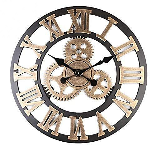 Mancru Vintage Not Cover Silence Gear Industrial Wall Clock Shabby Wooden Large Round Non-Ticking Quiet Quartz Wall Clock Decoration Wall Art Clock 15 Gold-16 inch (Industrial Wall Clock)