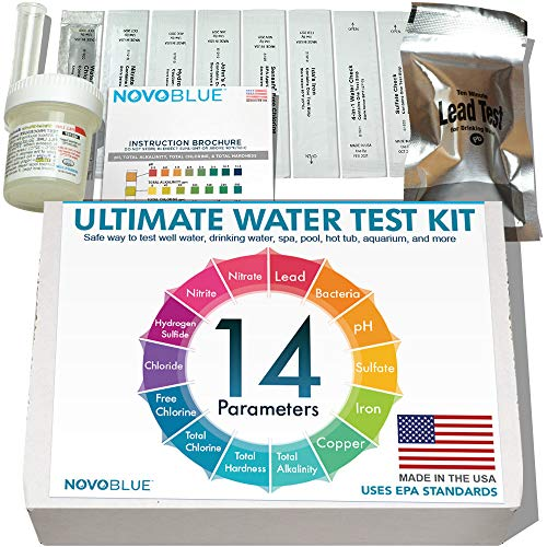 NovoBlue 14-in-1 Home Water Test Kit - Great for Well, Pool, Spa, Hot Tub, Aquarium, and Drinking Water - Detects Lead, Bacteria, Chloride, Chlorine, pH, and More! Made in The USA