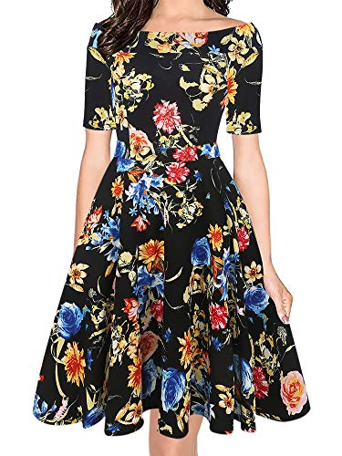 oxiuly Women's Vintage Off Shoulder Pockets Casual Floral A-Line Party Cocktail Swing Dress OX232 (S, BKfu Floral) (Off The Shoulder A Line Wedding Dress)