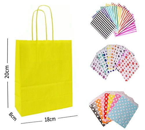 1 x YELLOW PARTY PAPER GIFT BAGS – WITH MATCHING CANDY STRIPE SWEET BAG