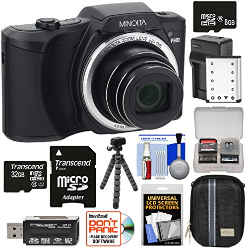 Minolta MN22Z 1080p 22x Zoom Wi-Fi Digital Camera (Black) with 8GB & 32GB Cards + Battery & Charger + Case + Tripod Kit