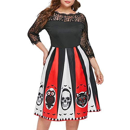 iLOOSKR Halloween Dress Plus Size Women Halloween Party Print Lace Patchwork Backless 3/4 Sleeve Knee Length Dress Black]()