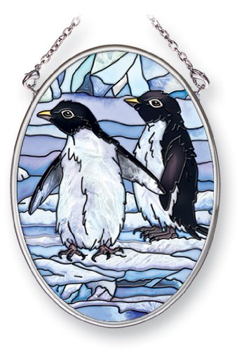 Amia Suncatcher Featuring a Pair of Penguins, Hand Painted Glass, 4-1/4-Inch by 3-1/4-Inch Oval