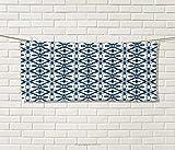 Anniutwo Blue White,Travel Towel,Traditional Portuguese Azulejo Tiles Pattern Illustration,100% Microfiber,Dark Blue Pale Blue White Size: W 12'' x L 27.5''