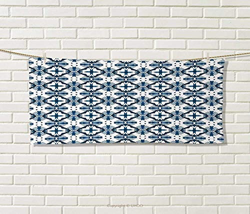 Anniutwo Blue White,Travel Towel,Traditional Portuguese Azulejo Tiles Pattern Illustration,100% Microfiber,Dark Blue Pale Blue White Size: W 12'' x L 27.5'' by Anniutwo