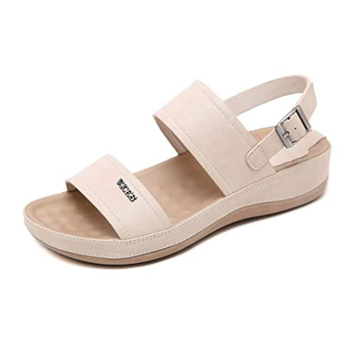 JOYBI Women Fashion Platform Chunky Sandals Flats Slip On Casual Hook Loop Summer Open Toe Sandal Shoes