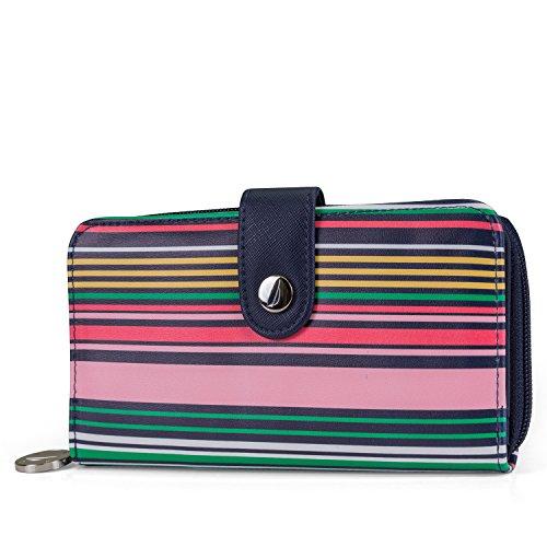 Nautica Be Shore Womens Waller RFID Blocking Zip Around Clutch (Stripe) Stripe Zip Around Wallet