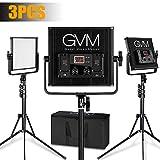 LED Video Light GVM 520LS CRI97+ TLCI97+ 18500lux Dimmable Bi-color 3200K-5600K Light For Outdoor Interview Studio Portrait Photographic 3 pcs Kit