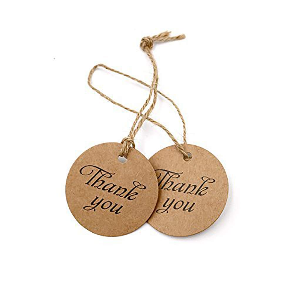 Kalaokei 100pcs DIY Rotonda Thank You Tag Letter Paper Craft Label Ciondolo Appeso Decor Brown