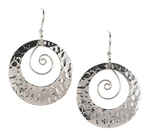 Coyote Circle Earrings - Jody Coyote Earrings QB986 Moonlight Collection silver circles 46