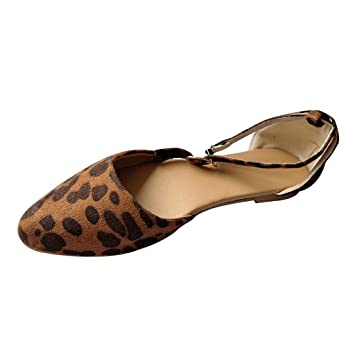 d778d1701b117 Women Summer Sandals Leopard Printed Pointed Toe Flat Sandals Buckle ...