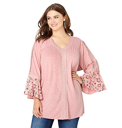 -AVENUE Women's Embroidered Mesh Bell Sleeve Top, 18/20 Light Pink