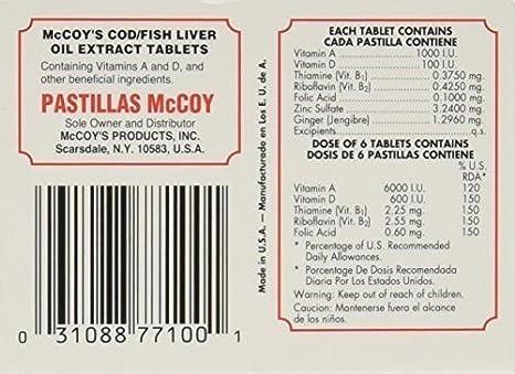 Amazon.com: Pastillas Mccoy Vitamin Nutriceutical Tablets Cod Fish Liver Oil Extra 100 caps: Health & Personal Care