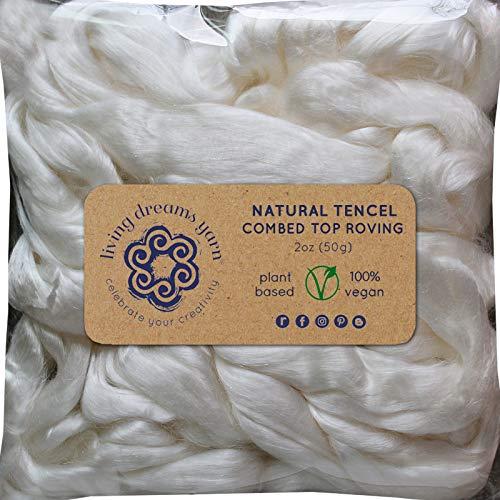 (Tencel Fiber for Spinning Blending Dyeing. Glossy Shiny Vegan Combed Top)