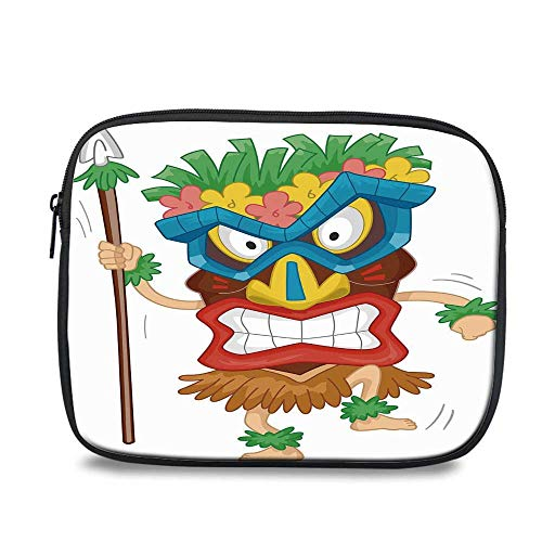 Tiki Bar Decor Durable iPad Bag,Native Man Wearing Mask Illustration Cartoon Tribal Costume Primitive Ritual Decorative for iPad,10.6