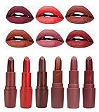 Matte Lipstick 6 Colors Set, Long Lasting Vivid Moisturizing Dark Lipstick