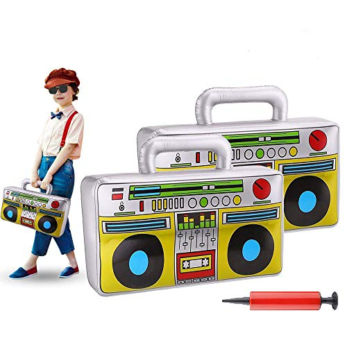 3 Pieces 16.7inch Inflatable Boombox Toy 80's 90's Boom Box Party Supplies for Old School Themed Party,Hip Hop Adults Costume Accessories and Rappers B-Boys Party Decoration -