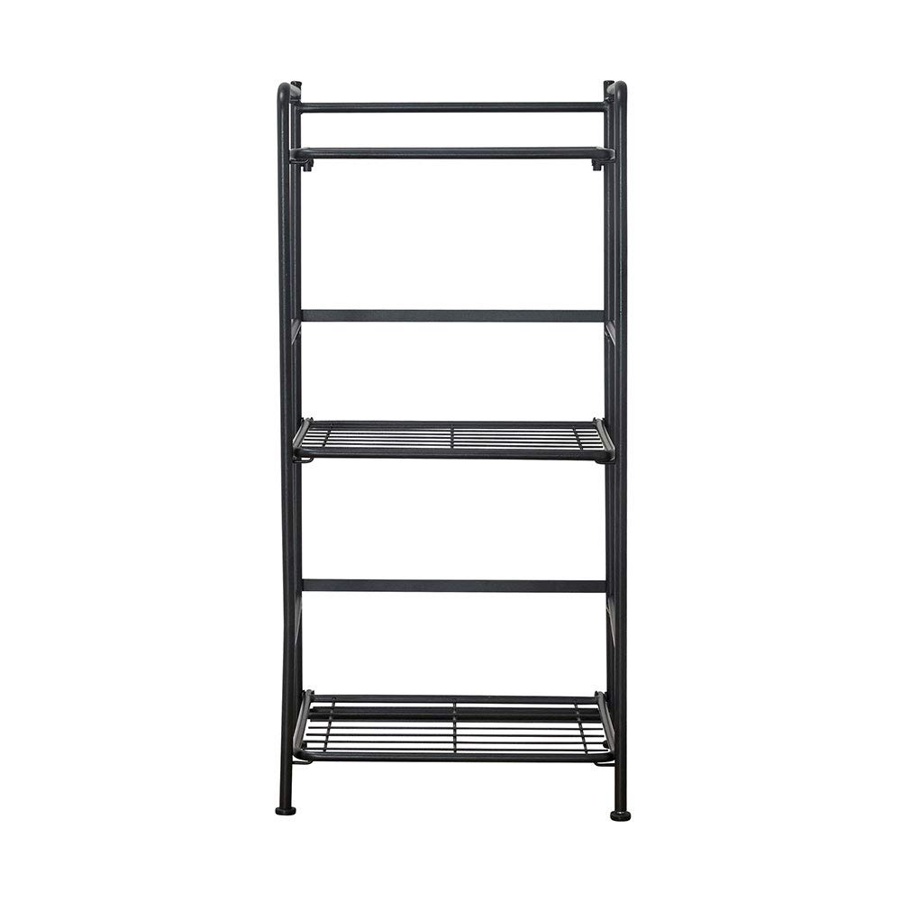 Flipshelf Folding Metal Bookcase-Small Space Solution-No Assembly-Home, Kitchen, Bathroom and Office Black, 3 Shelves, Narrow