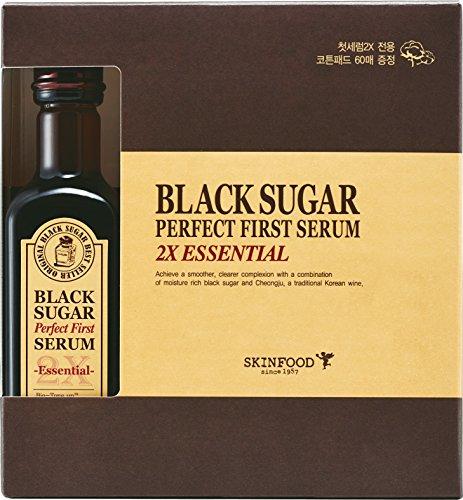 Skinfood Black Sugar Perfect First Serum 2x Essential (4.05fl.oz/120ml) with Cotton Pad 60 Sheets (Sugar Skin Food Black)
