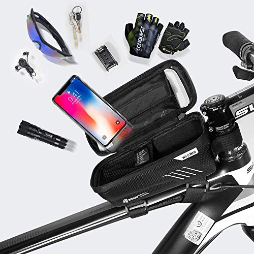 Option Bike Frame Bag Waterproof Bike Pouch Bag Cycling Front Top Tube Touchscreen Sun Visor Storage Bag for iPhone 8 Plus//X//XS Max//XR//Samsung S8//S9 Plus up to 6.6 Inch Black